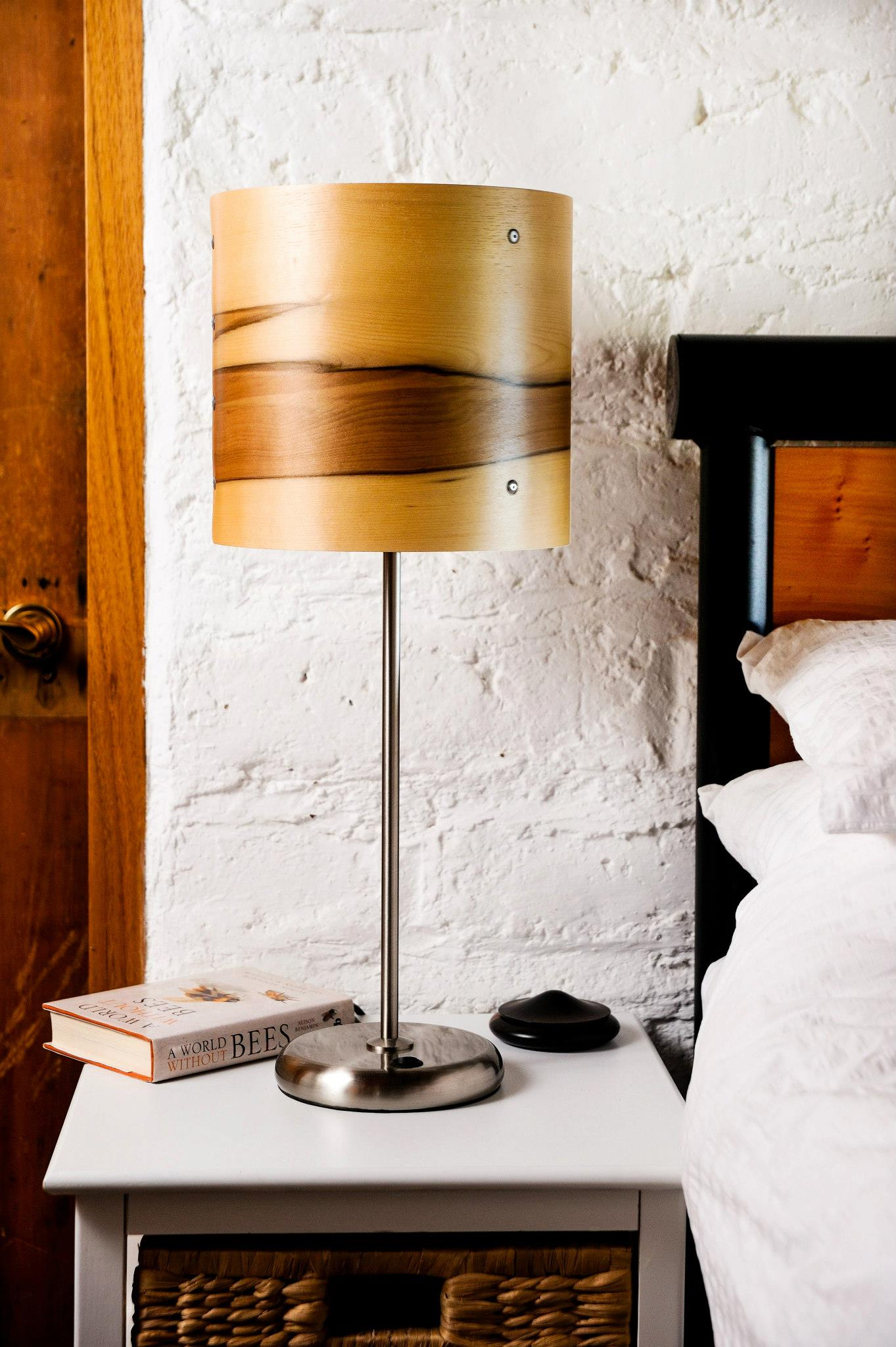 Timber veneer table lamp axiom lighting axiom table lamp in sasafrass veneer aloadofball Choice Image