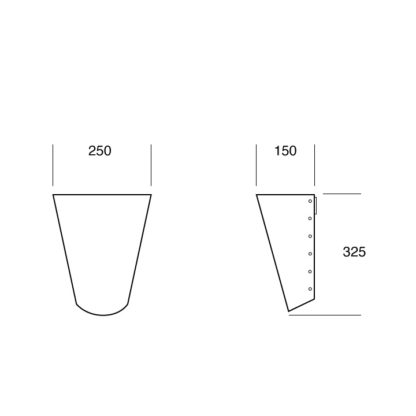 half wall cone dimensions (in mm)