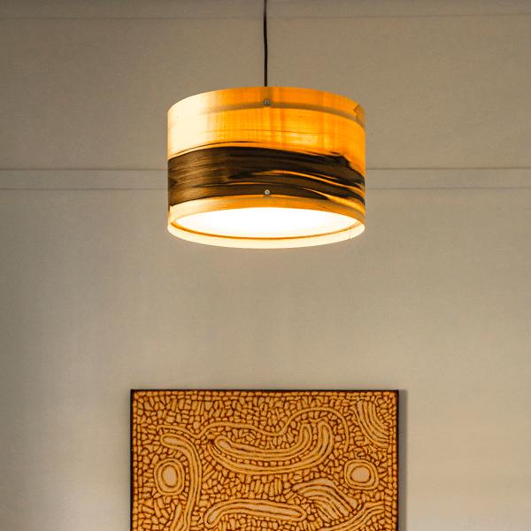 Timber Veneer Drum Pendant Lights Axiom Lighting